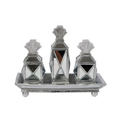 Faceted Deco Tray w/ 3 Boxes