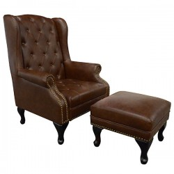 Wing Back Chair w/ Stool