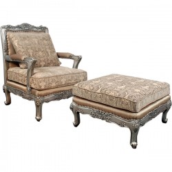 Silver Charlotte Chair and Ottoman